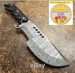 Handmade Hunter Tracker Knife, Damascus Forged Blade, Bull Horn Handle 9