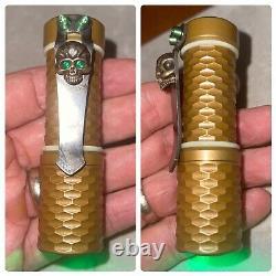 Hanko Custom Flashlight Torch w Gunner Grip & Steel Flame GreenEyed Warrior Clip