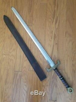 Iberia Philippines Broad Sword Wood Brass Handle 33 Blade with Leather Scabbard