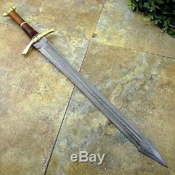 JJhunters Custom HandMade Damascus Steel 32In Sword, Brass Guard, Wood Handle=IM