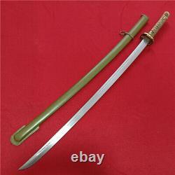 Japan Japanese NCO Sword Samurai Katana Brass Handle Steel Scabbard A809