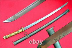 Japanese Army NCO Sword Samurai Katana Brass Handle Signed Blade Steel Scabbard