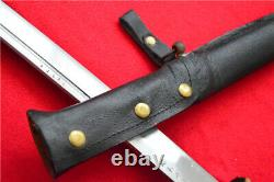 Japanese NCO Sword Samurai Katana Brass Handle Leather Steel Scabbard Saber F784