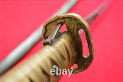 Japanese NCO Sword Samurai Katana Signed Blade Brass Handle Steel Scabbard A786