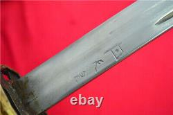 Japanese NCO Sword Samurai Katana Signed Blade Brass Handle Steel Scabbard S719