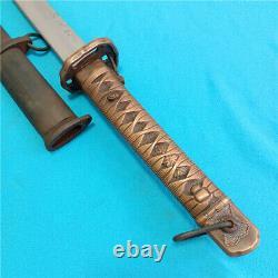 Japanese NCO Sword Samurai Katana Signed Blade Brass Handle Steel Scabbard S872