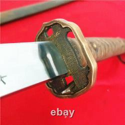 Japanese NCO Sword Samurai Katana Signed Blade Brass Handle Steel Sheath S869