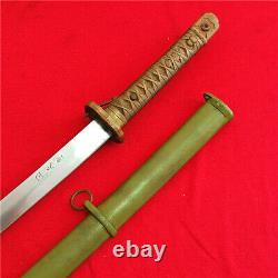 Japanese Nco Sword Samurai Katana Brass Handle Signed Blade Steel Scabbard A68