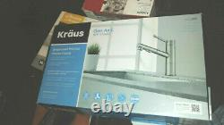 KRAUS Geo Axis Single-Handle Pull-Out Sprayer Kitchen Faucet in Stainless Steel