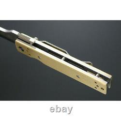Kanetsune Brushed Linerlock Folding Knife 2.83 AUS-8 Steel Blade Brass Handle