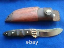 LCO Custom Knife Stag, Brass & Wood Handle Fixed Blade Knife & Leather Sheath