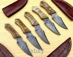 Lot of 5 Custom Made Damascus Steel 7 Skinner Hunting knives Ram Horn Handles