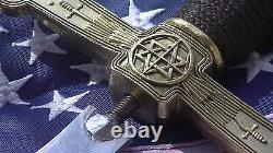 Martinist Masonic Sword PAPUS design brass Heavy handle straight blade 21 long