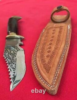 Mexican Brass Eagle Knife Cocobolo Handle Custom Tooled Sheath-etched Blade