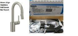 Moen Align Single Handle Bar/Prep Faucet Pull Down Spray Stainless Steel 5965SRS