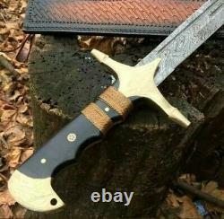 New Custom Handmade Damascus Steel Ertugrul Scimitar Sword Micarte Handle