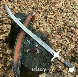New Custom Handmade Damascus Steel Scimitar Sword Micarte Handle 4404