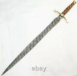 New Custom Handmade Damascus Steel Sword With Wood & Brass Guard Handle