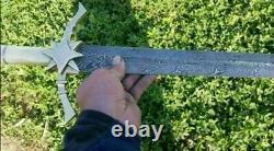 New Custom Handmade Damascus Steel Viking Sword, With Bone Handle
