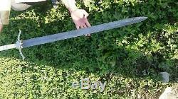 New Custom Handmade Damascus Steel Viking Sword with Bone Handle