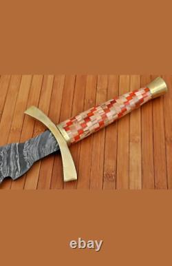 New Custom Handmade Damascus Steel Viking Sword with Wooden Handle
