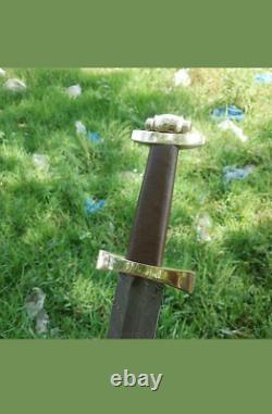 New Custom Handmade Medieval Damascus Steel Viking Sword with Wooden Handle