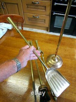 Old Antique Victorian Tall Brass Fireside Companion Set Sword Grip Handles c1895