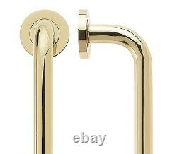 Pair Of Back To Back D Shape Door Pull Handles On Rose Polished Brass 19 x 425mm