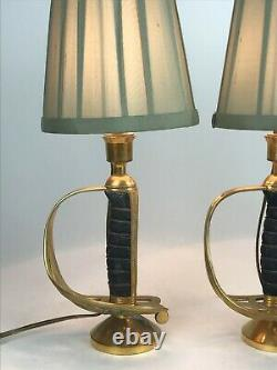 Pair of Sword Handle Table Lamps Antique Militaria Brass Edward VII Royal Cypher
