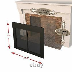 Pleasant Hearth AT-1000 Ascot Fireplace Glass Door Black Small