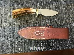 Randall Knife 11-4 Alaskan skinner carbon blade stag handle brass hilt and plate
