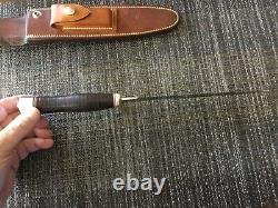 Randall knife 2-8 carbon blade brass guard leather handle duraluminum cap johnso