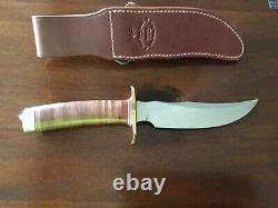 Randall knife 4-6F fighter leather handle carbon blade brass hilt makers sheath