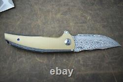 Reate JACK Knife Damasteel Blade Flamed Titanium Handle with Brass Inlay NEW