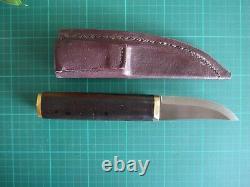 Roselli wootz blade custom sheath knife, ebony handle with brass fittings