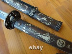 S015 -Japan Tachi Damascus Blade Samurai Katana Sword Brass Handle Scabbard