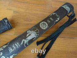 S017-Japan Tachi Sign Folded Steel Blade Samurai Katana Sword copper Handle Saya