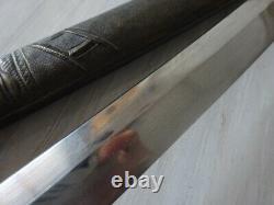 S076 Vintage Tanto Japan Warrior Dagger Sword Wakizashi Brass Handle Scabbard
