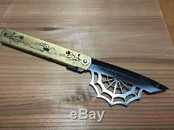 SUPER PREMIUM! HIGONOKAMI Blue Steel Blade, Brass Handle, XL, Model SPIDER