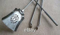 Set of Steel Fireplace Irons with Brass Handles Fire Accessories, Tongue, Poker