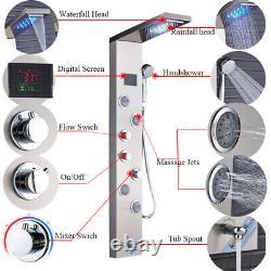 Shower Panel Tower System LED Rain&Waterfall Massage Jet Spraye Stainless Steel