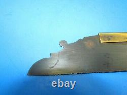 Showy brass backed gentleman's dovetail saw with rosewood handle & decorated blade
