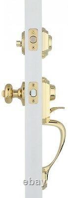 Single Cylinder Polished Brass Handle Door Knob Set Lock Lockset Deadbolt