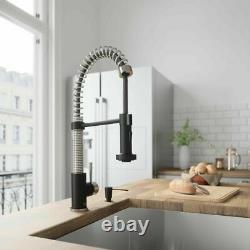 Single Handle Pull Down Sprayer Kitchen Sink Faucet Stainless Steel Matte Black