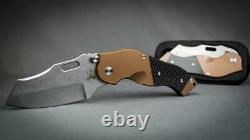 Sniper Bladeworks DMF Folder, S35VN Steel Blade, Brass Handle, Carbon Fiber