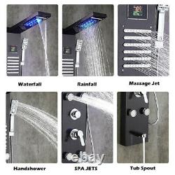 Stainless Steel Shower Panel Tower System LED Rainfall Shower Head Bathroom Suit