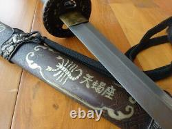Sturdy Japan Tachi Signature Blade Samurai Katana Sword Copper Handle and Sheath