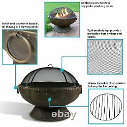 Sunnydaze 30 Fire Pit with Copper Finish Firebowl with Handles and Spark Screen