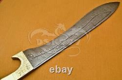 Sword Custom Handmade Damascussteel Hunting Kopis Sword Handle Brass Work Of Art