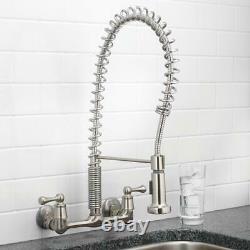 Tosca 2-Handle Wall-Mount Pull-Down Sprayer Kitchen Faucet in Stainless Steel